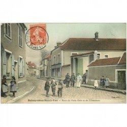 carte postale ancienne 91 BOISSY SOUS SAINT YON. Rue du Puits Grès et de l'Ormeteau 1910 Restaurant Poirier