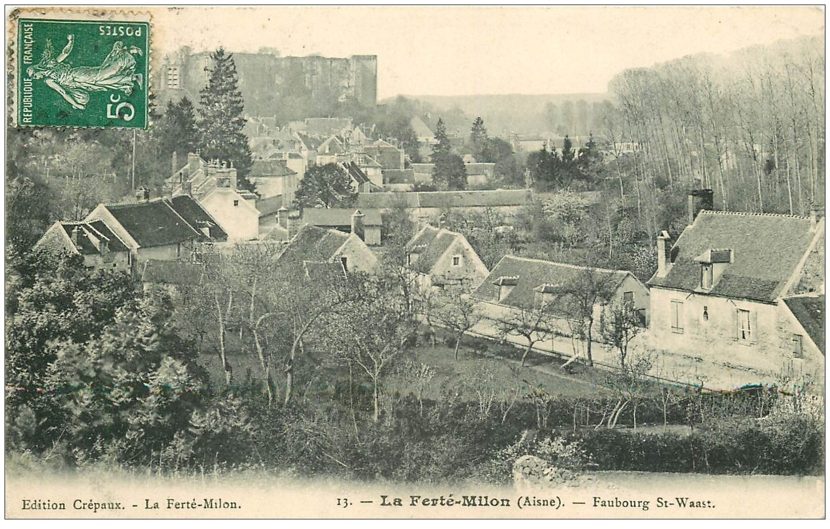 carte postale ancienne 02 LA FERTE-MILON. Faubourg Saint-Waast 1909