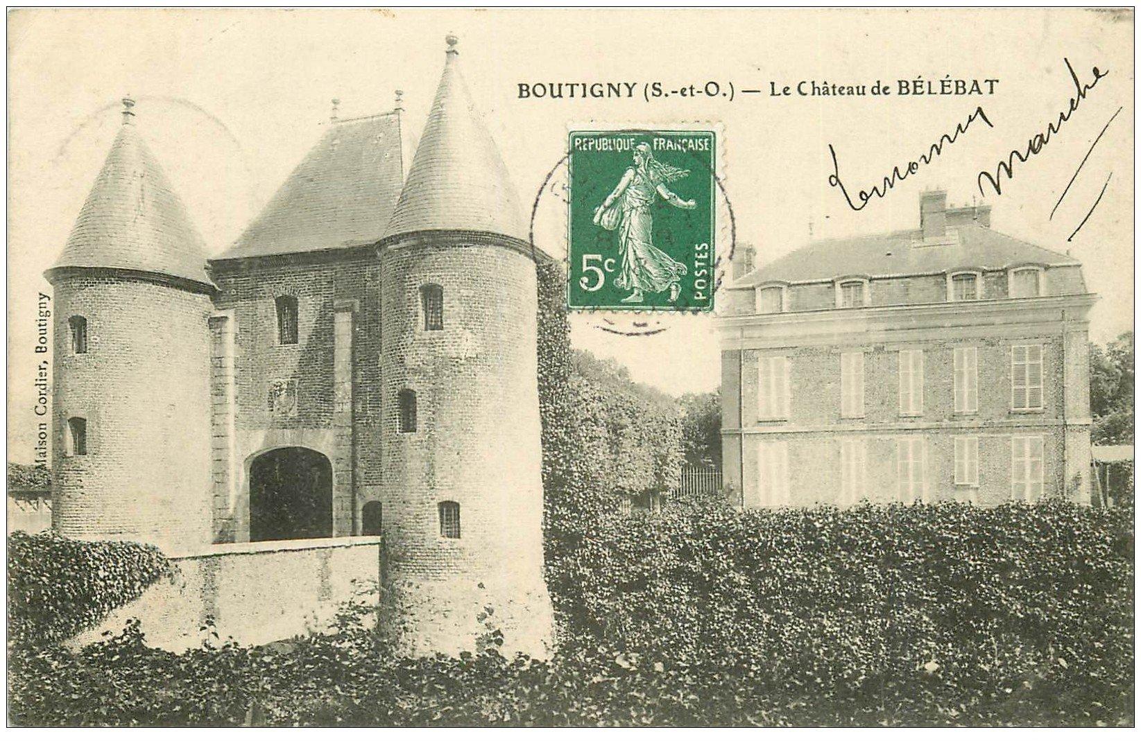 carte postale ancienne 91 BOUTIGNY. Le Château de Bélébat 1908