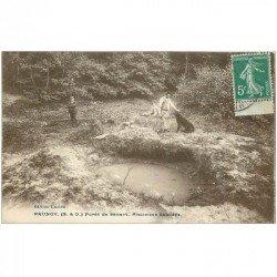carte postale ancienne 91 BRUNOY. Ancienne Sablière Forêt de Sénart. Personnages et Chiens