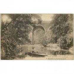 carte postale ancienne 91 BRUNOY. Canotage sur l'Yerres au Viaduc de Soulins