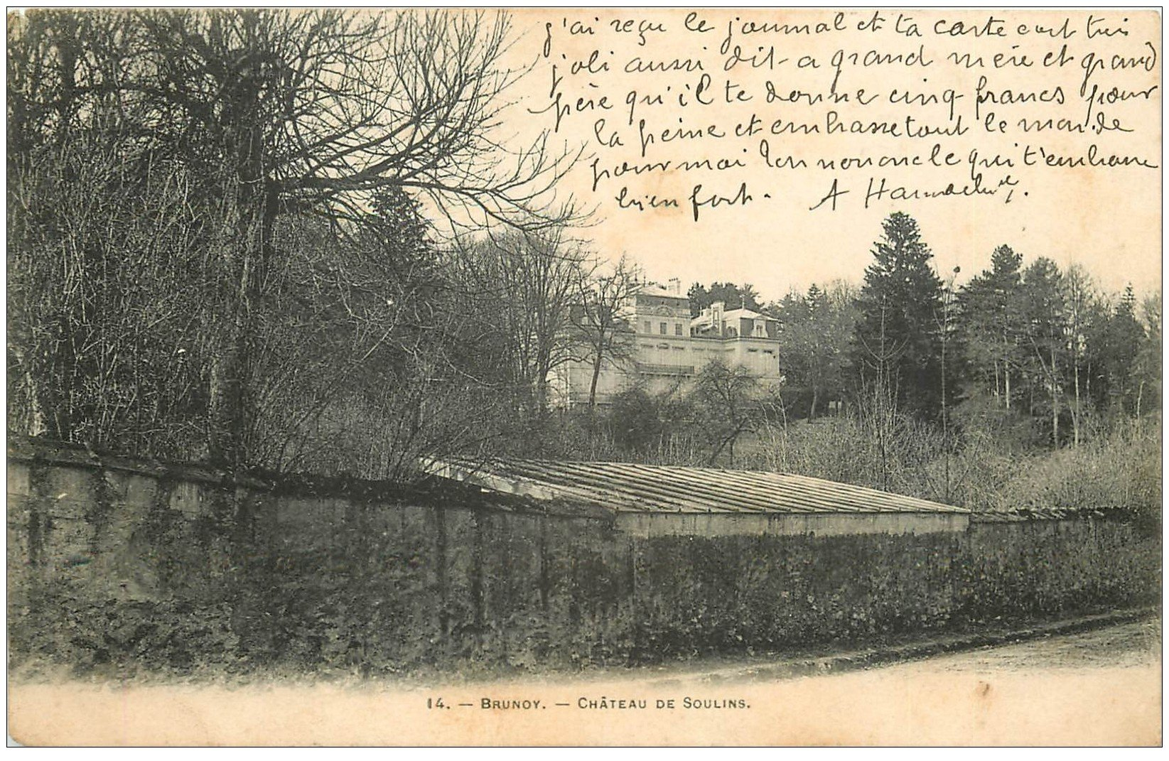 carte postale ancienne 91 BRUNOY. Château de Soulins 1904