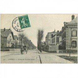 carte postale ancienne 91 CORBEIL ESSONNES. Attelage Avenue du Président Carnot
