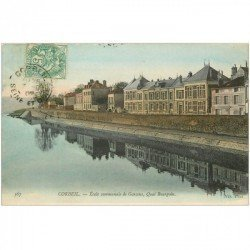 carte postale ancienne 91 CORBEIL ESSONNES. Ecole de Garçons Quai Bourgoin 1907