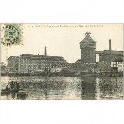 carte postale ancienne 91 CORBEIL ESSONNES. Grands Moulins et Magasins 1907 avec Pêcheurs sur barques