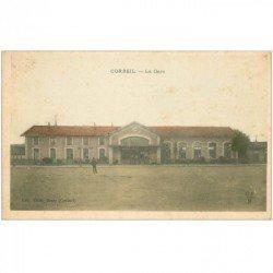 carte postale ancienne 91 CORBEIL ESSONNES. La Gare. Edition Sigé du Bazar à Corbeil