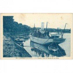 carte postale ancienne 91 CORBEIL ESSONNES. Le Navire à vapeur Oasis aux Bords de Seine