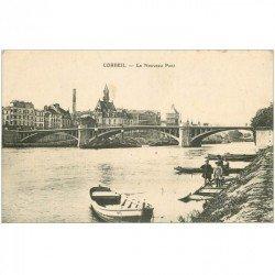 carte postale ancienne 91 CORBEIL ESSONNES. Le Nouveau Pont avec Enfants