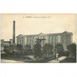 carte postale ancienne 91 CORBEIL ESSONNES. Le Square et Moulins avec Militaires