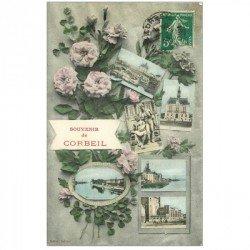 carte postale ancienne 91 CORBEIL ESSONNES. Multivues fantaisie 1908