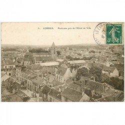 carte postale ancienne 91 CORBEIL ESSONNES. Panorama des toits 1909