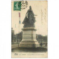 carte postale ancienne 91 CORBEIL ESSONNES. Statue aux Enfants morts pour la Patrie 1908 animation