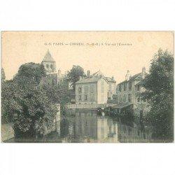 carte postale ancienne 91 CORBEIL ESSONNES. Vue sur la Rivière 1907 avec Lavoir