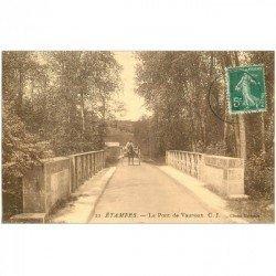 carte postale ancienne 91 ETAMPES. Attelage sur le Pont de Vauroux 1913