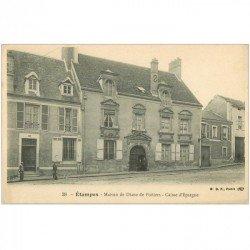 carte postale ancienne 91 ETAMPES. Caisse d'Epargne et Maison Diane de Poitiers