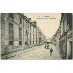 carte postale ancienne 91 ETAMPES. Collège rue Saint Antoine 1916 ( petits défauts )...