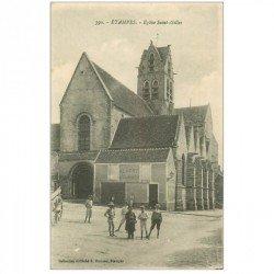 carte postale ancienne 91 ETAMPES. Eglise Saint Gilles et Maison de porc Larry