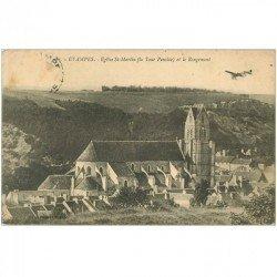 carte postale ancienne 91 ETAMPES. Eglise Saint Martin et le Rougement. Aéroplane 1912. Timbre absent