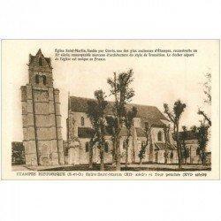 carte postale ancienne 91 ETAMPES. Eglise Saint Martin et Tour penchée