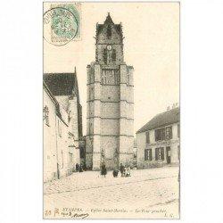 carte postale ancienne 91 ETAMPES. Eglise Saint Martin et Tour Penchée 1903. Café de la Place