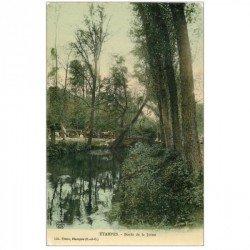 carte postale ancienne 91 ETAMPES. gros Attelage Bords de la Juine 1915. Carte émaillographie
