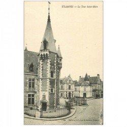 carte postale ancienne 91 ETAMPES. La Tour Saint Mars et Entrepôt Liqueurs Brunet