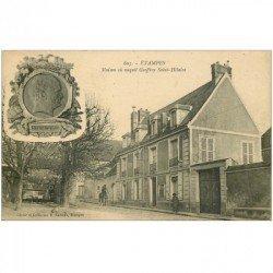 carte postale ancienne 91 ETAMPES. Maison de Geoffroy Saint Hilaire 1924 et publicité Suze