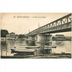 carte postale ancienne 91 JUVISY SUR ORGE DRAVEIL. Pont sur la Seine 1934