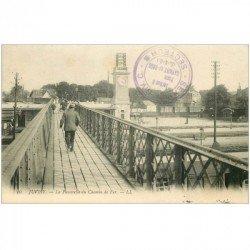 carte postale ancienne 91 JUVISY SUR ORGE. Passerelle sur Gare et Chemin de Fer 1916
