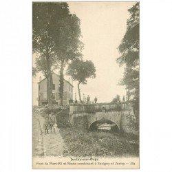 carte postale ancienne 91 JUVISY SUR ORGE. Pont du Mort Rû et Café Vins