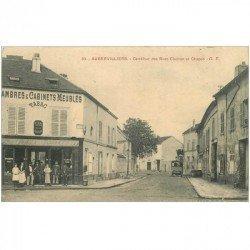 carte postale ancienne 93 AUBERVILLIERS. Carrefour rues Charron et Chapon Café Tabac et Hôtel. Pli coin droit