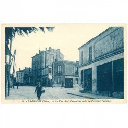 carte postale ancienne 93 BAGNOLET. Rue Sadi Carnot coin de l'Avenue Pasteur à droite Fleuriste du Cimetière