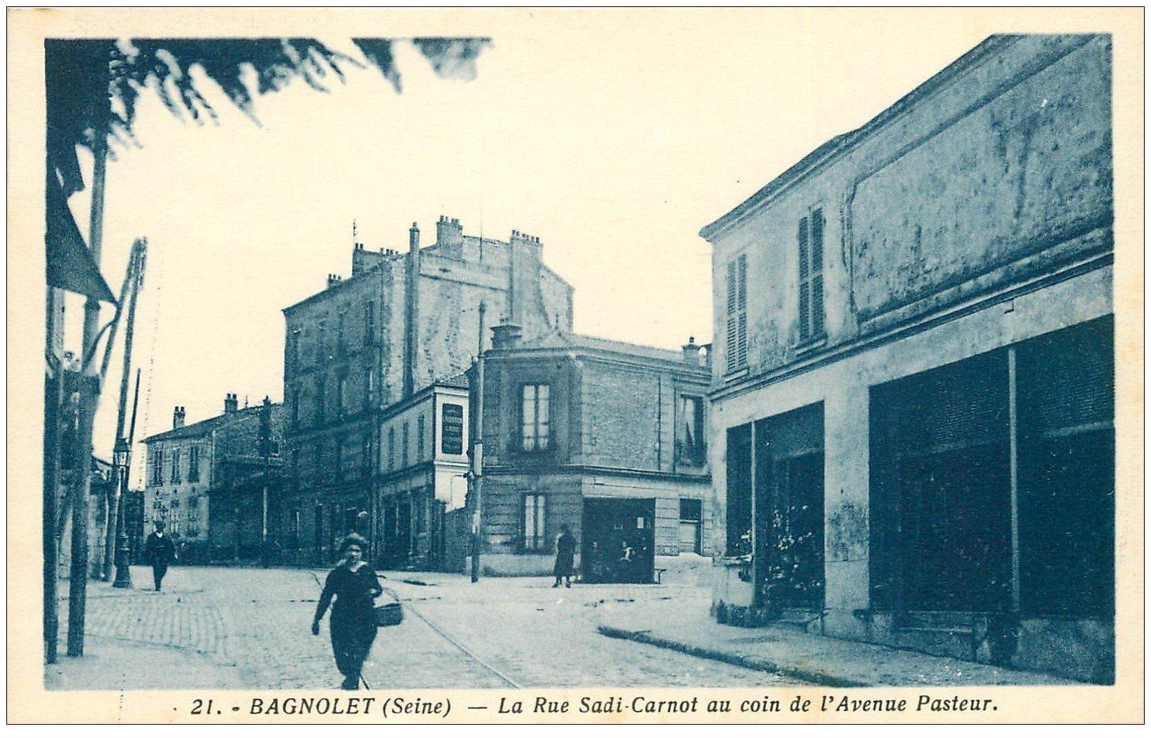 93 BAGNOLET. Rue Sadi Carnot coin de l'Avenue Pasteur à droite Fleuriste du Cimetière