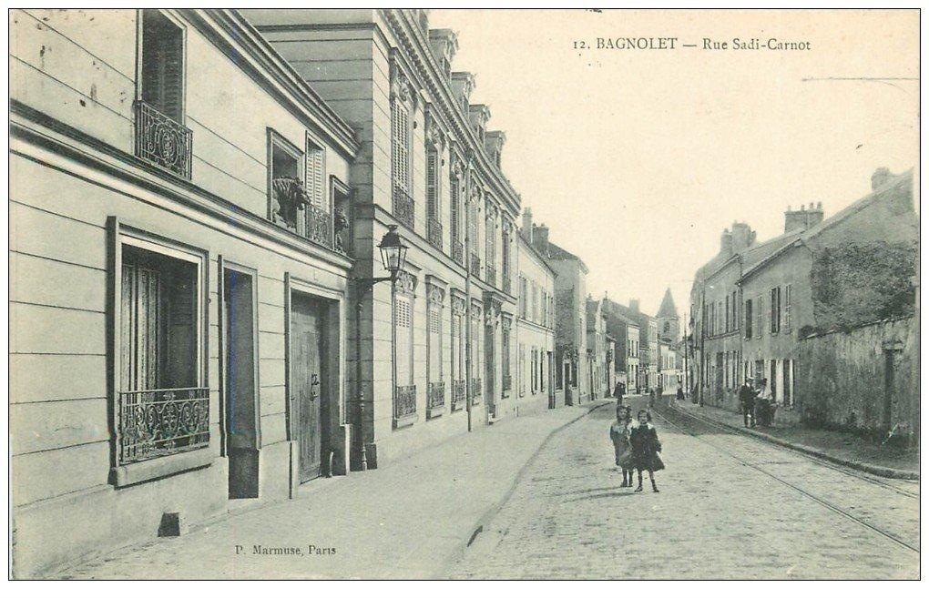 carte postale ancienne 93 BAGNOLET. Rue Sadi-Carnot prise de la Rue des Lilas 1908