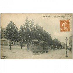 carte postale ancienne 93 BAGNOLET. Tramway Place de la Mairie sur la Rue de Paris vers 1923