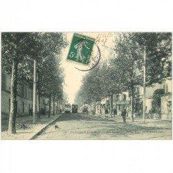 carte postale ancienne 93 BAGNOLET. Tramways Rue de Paris 1908. Rue qui reliait Porte de Bagnolet à la Mairie