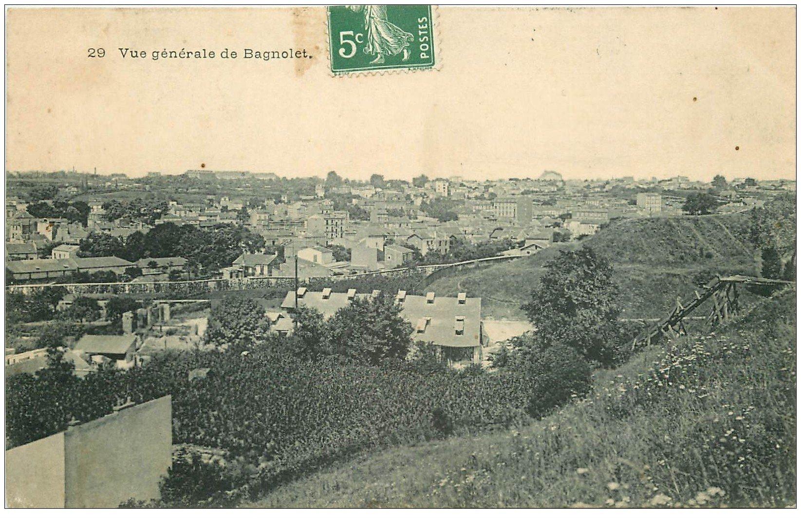 carte postale ancienne 93 BAGNOLET. Vue générale depuis les Carrières 1908
