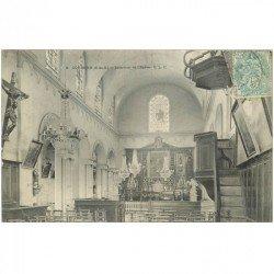 carte postale ancienne 93 COURBON. Intérieur de l'Eglise vers 1907. Entame pli coin gauche