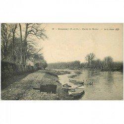 carte postale ancienne 93 GOURNAY SUR MARNE. Barques aux Bords de la Marne 1912