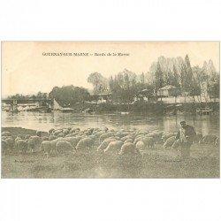 carte postale ancienne 93 GOURNAY SUR MARNE. Berger et troupeau de Moutons bords de la Marne