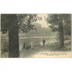carte postale ancienne 93 GOURNAY SUR MARNE. La Marne au dessous du Moulin. Tampon Hôpital Militaire 1917