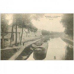 carte postale ancienne 93 GOURNAY SUR MARNE. La Plâtrière sur Canal de Vaires avec Péniche vers 1900