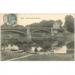carte postale ancienne 93 GOURNAY SUR MARNE. Pêcheurs près du Pont vers 1905