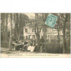 carte postale ancienne 93 GOURNAY SUR MARNE. Restaurant Roux des bords de Marne l'heure de l'apéro vers 1905