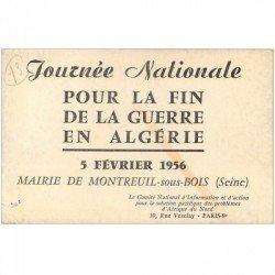 carte postale ancienne 93 MONTREUIL SOUS BOIS. Carte Journée Nationale pour la fin de la guerre en Algérie 1956