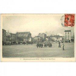carte postale ancienne 93 MONTREUIL SOUS BOIS. Place de la République 1908 Charcuterie