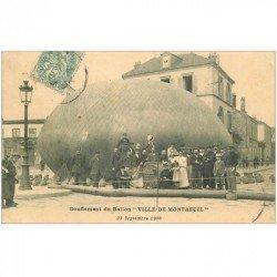 carte postale ancienne 93 MONTREUIL SOUS BOIS. Rare le gonflement du Ballon vers 1905. Montgolfière Aérostat Transports