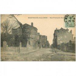 carte postale ancienne 93 MONTREUIL SOUS BOIS. Rue François Arago 1921 Publicité murale Dubonnet