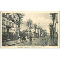 carte postale ancienne 93 MONTREUIL. Boulevard Hôtel de Ville 1908