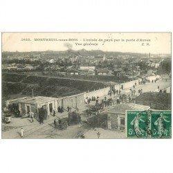 carte postale ancienne 93 MONTREUIL. Octroi Porte d'Avron 1908. Vespasiennes